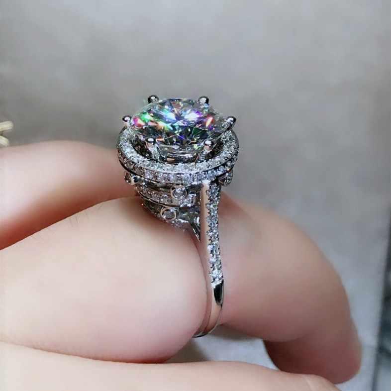 Colombe oeufs de luxe bijoux 925 en argent Sterling rond coupe blanc clair 5A zircone éternité clair fête femmes bague de mariage cadeau