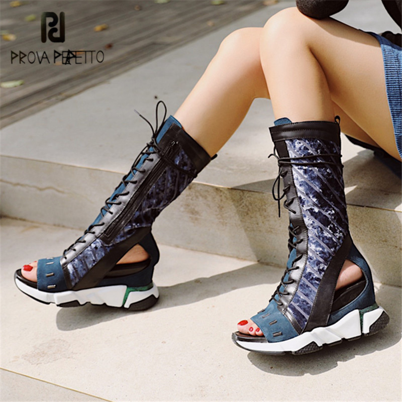 Prova Perfetto Sexy Peep Toe Women Summer Boots Female Lace Up High Boots Platform Wedge Shoes Woman Casual Botas Mujer Wedges sexy summer women boots cut outs peep toe rivets platform sandals boots high heels ankle boots shoes woman booties botas mujer
