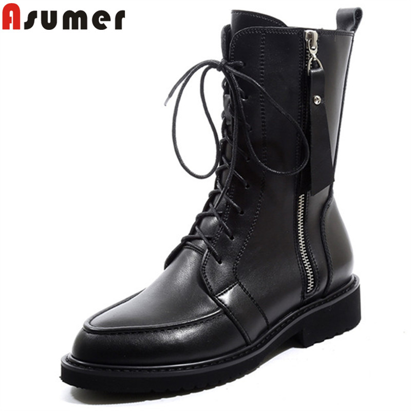ASUMER big size 34-42 fashion ankle boots for women round toe med heels black lace up autumn winter boots classic ladies boots цена 2017