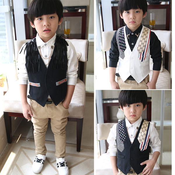 72f599b06ad6 Autumn 2014 children's clothing kids casual suit Vests & Waistcoats boys  fashion black and white&flowers&tassel all-match vest
