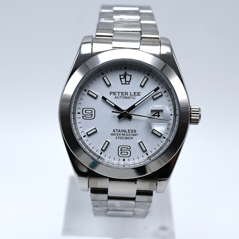 Silver Watch | Fashion PETER LEE Nautilus | Brand Luxury Full Steel Bracelet Waterproof Automatic Mechanical Business Clocks Classic Dial 38mm Mens Watch