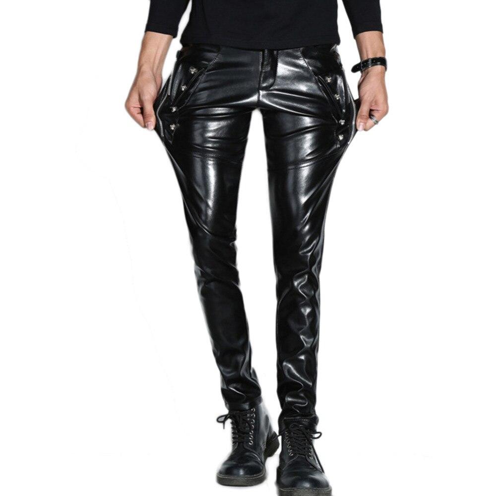 Pantalon Punk Pour Cool Hommes Glissière Noir À De Faux Halloween Cuir En Fermetures Gothique Partie Mode XdZWwPq8X