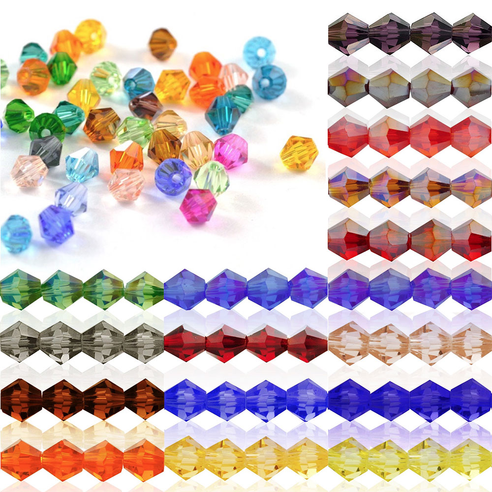 5328 50Pcs 6mm Crystal Bicone Glass Loose Spacer Beads DIY Jewellery Making For Bracelet Necklace Center Drilled CR0375-3