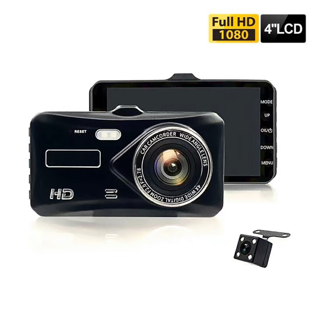Dual Lens Vehicle Camera Full HD 1080P 4 IPS Front+Rear Night Vision Video Recorder G sensor Parking Monitor