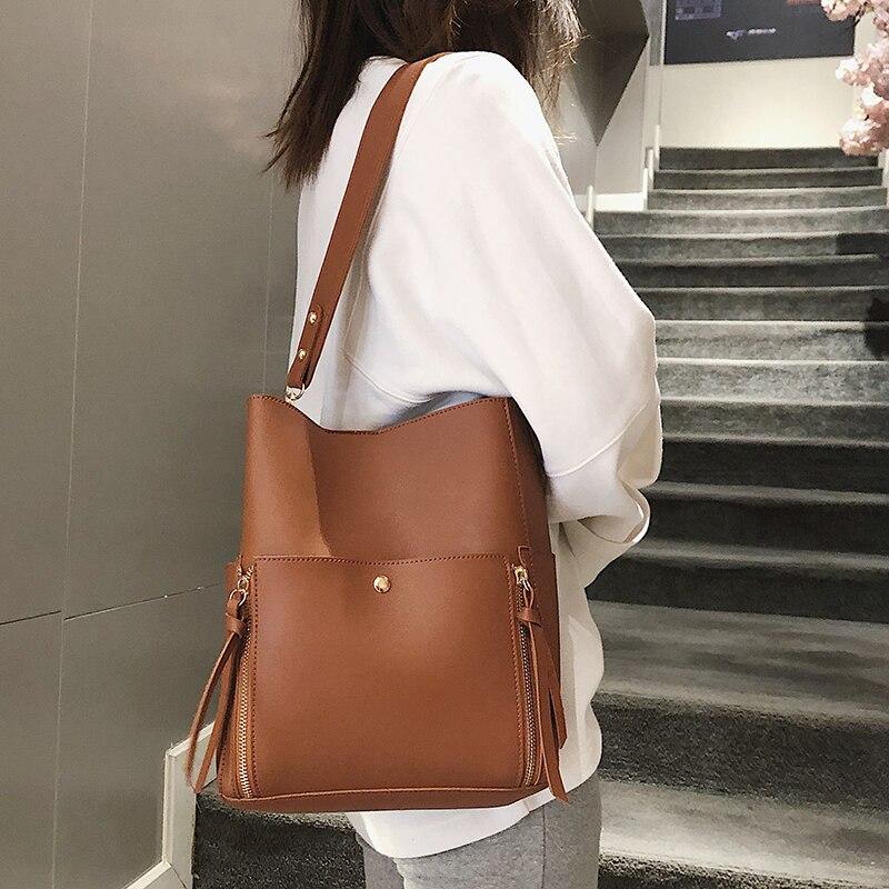 Two sets women handbaggs Crossbody Bag 2019 Fashion pu Leather Luxury Women Messenger Bag Ladies Girls Totes Bucket bag 51