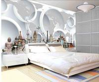 3d World Famous Tourist Building TV Backdrop 3d Stereoscopic Wallpaper Pvc Floor Wallpaper Home Decoration