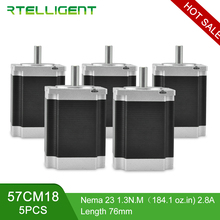 Rtelligent 5PCS 1.3/2.2/3.0N.M 4-lead Nema 23 Stepping Stepper Motor 57*57 6.35/8mm Diame for CNC Engraving Milling Machine nema 34 cnc stepper motor 86x98mm 6 8 n m 6a d14mm stepping motor 972oz in for cnc engraving machine and 3d printer