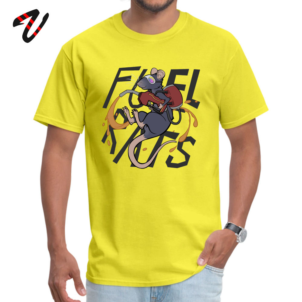 Fuel Rats Student On Sale Cool Tees O-Neck April FOOL DAY 100% Cotton T Shirt Classic Short Sleeve Tshirts Top Quality Fuel Rats19205 yellow