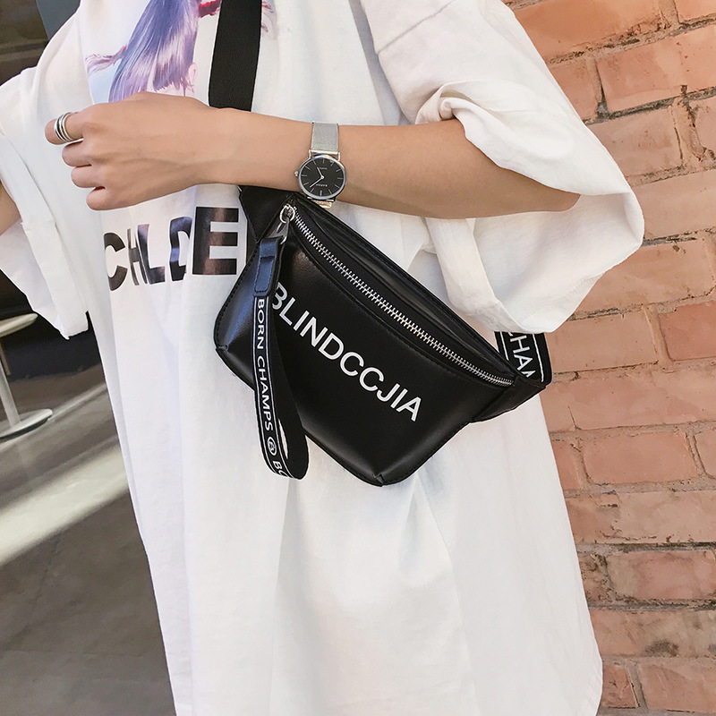 Fanny Pack Waist Bag Belt Women 2018 New PU Leather Bum Bag Whiter Leisure Shoulder Bags For Women Girls Letter Bag Packs