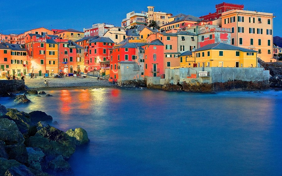 custom canvas fabric wall poster genoa Italy boccadasse bay home night ...