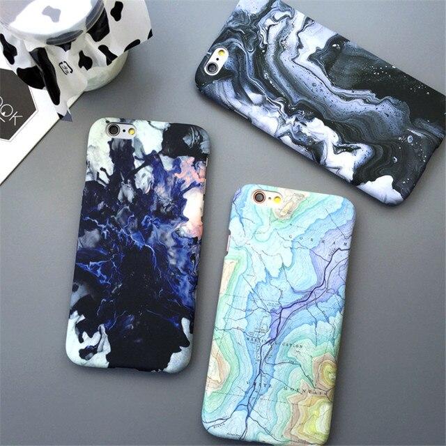 Hard Plastic Telefoon Gevallen Cover Voor iPhone 6 6 S 5 5 S SE Slim Matte Maan Ruimte Oppervlak Kaart Marmer Capa Coque Fundas