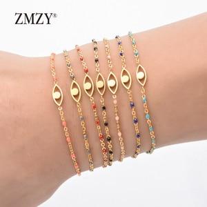 Image 2 - ZMZY 7pcs Mixed Color Boho Evil Eye Charm Vintage Stainless Steel Bracelet Women Gold Color Chain Bracelets Bangles Jewelry