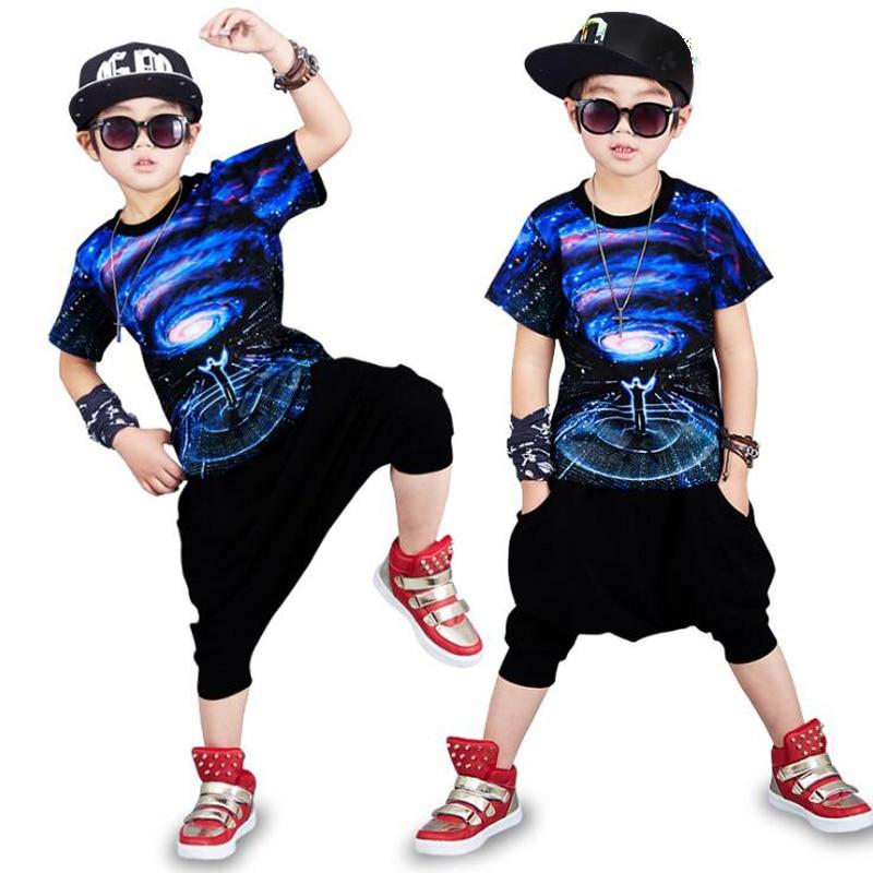 Summer Boys Clothing Children Clothes Sets Hip hop Streetwear Kids Tshirt Pants Children Costumes Boys Sports Streetwear Suit