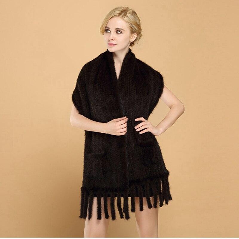 ZY87006 2016 offre spéciale fait à la main dames véritable naturel tricoté vison châles de fourrure avec glands hiver femmes fourrure enveloppes vêtements d'extérieur