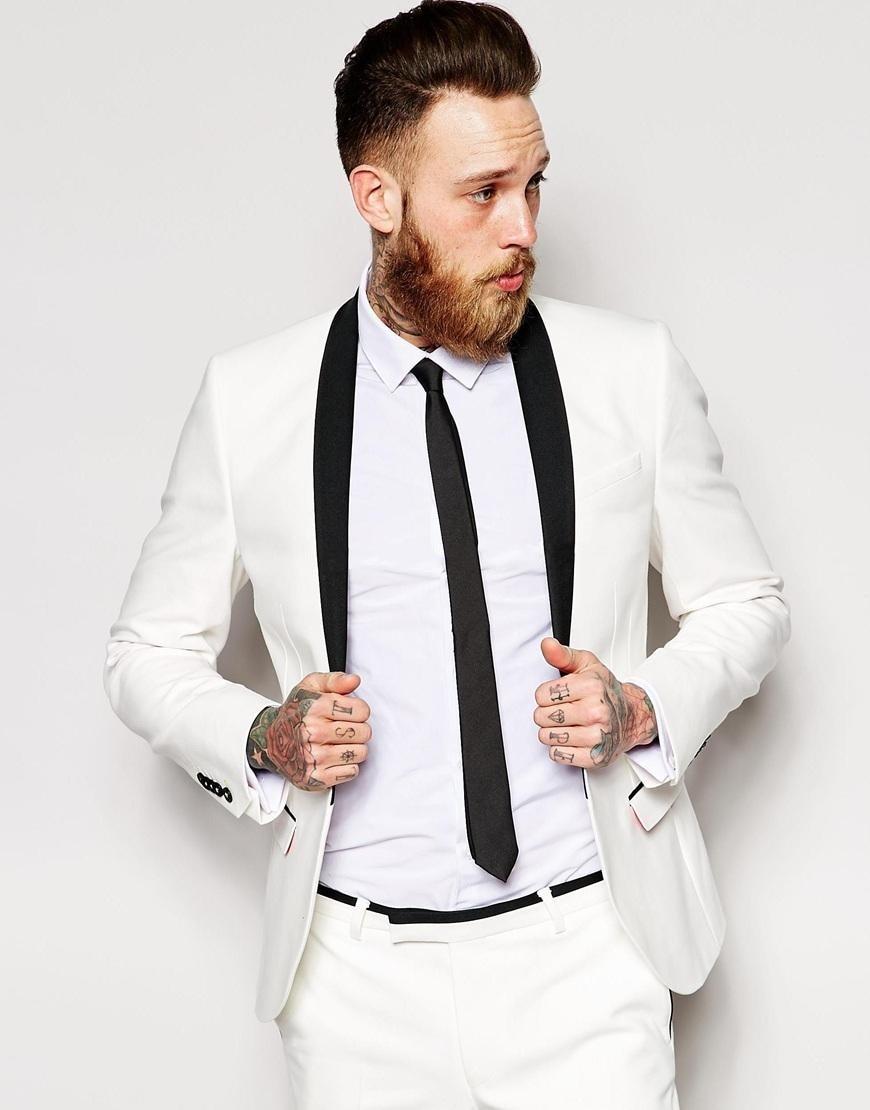 Classic Style One Button Ivory Groom Tuxedos Groomsmen Men\'s Wedding ...