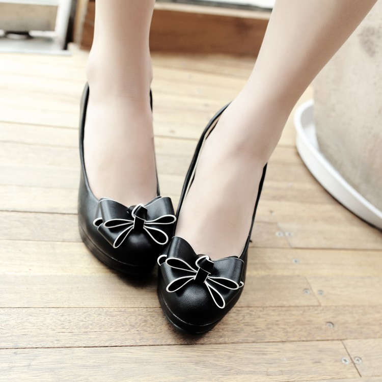 Big Size 11 12 13 14 15 16 17 ladies high heels women shoes woman pumps Butterfly knot with round head and shallow mouthBig Size 11 12 13 14 15 16 17 ladies high heels women shoes woman pumps Butterfly knot with round head and shallow mouth