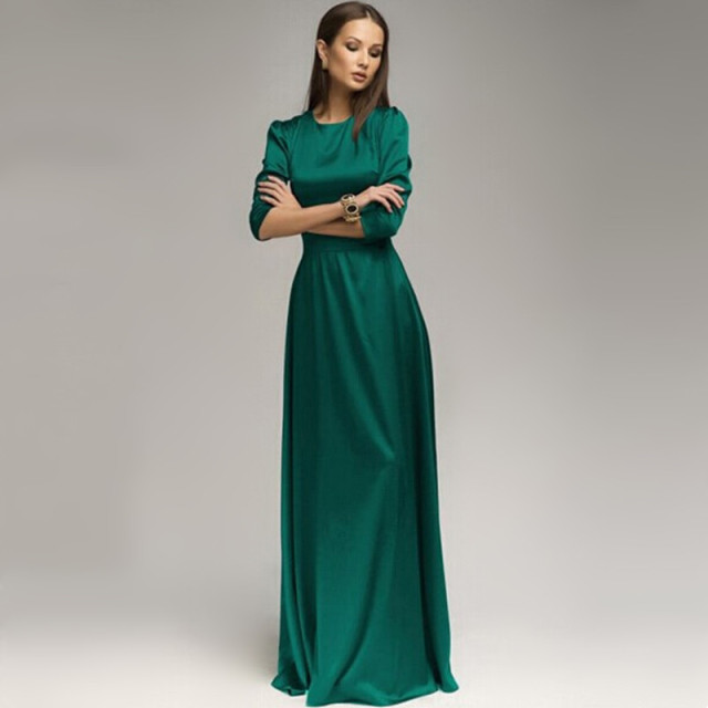 Green Maxi Dress with Sleeves