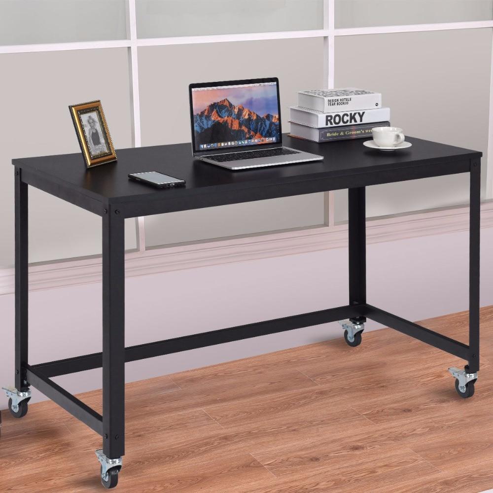 - Giantex Rolling Computer Desk Wood Top Metal Frame Laptop Table