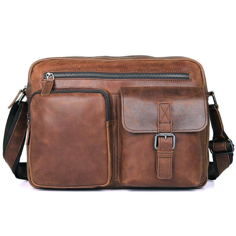 J.M.D J.M.D  Vintage Genuine Cow Leather Messenger Bag Men Leather Sling Bag For Man Crossbody Bag 1017- casual canvas satchel men sling bag