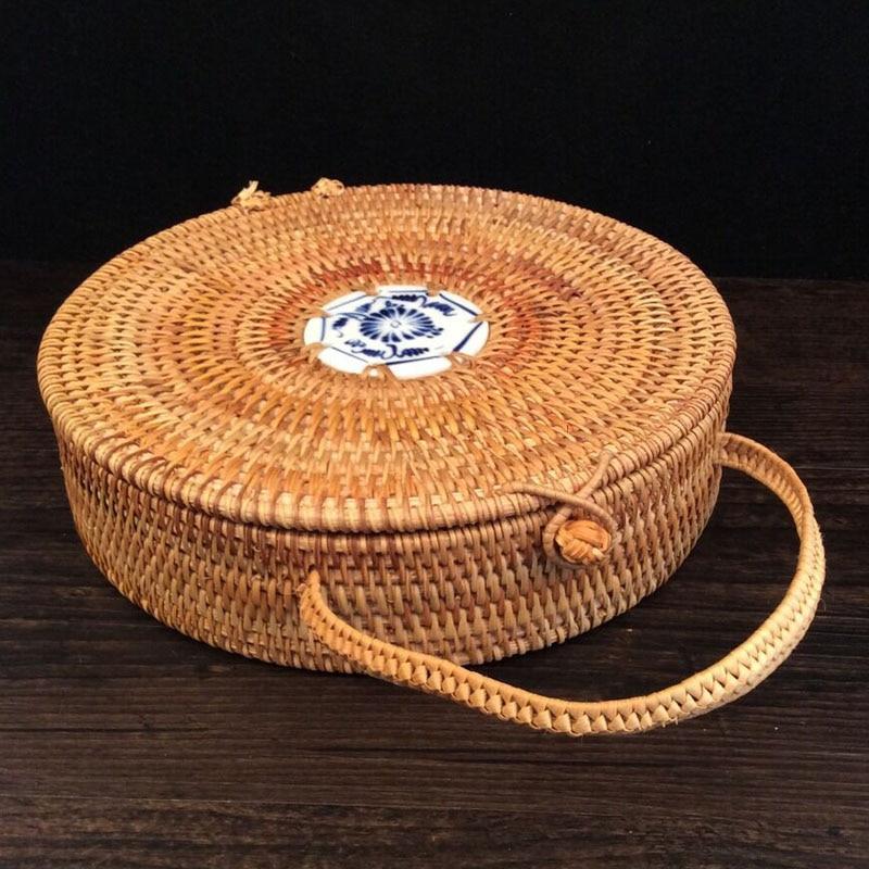 Ručně vyráběné ratanové tkané pu-erh čajový dort skladovací box kanystr s lanem čaj cínové nádoby vinobraní kulaté čajové plechovky plechovky nejlepší dárek