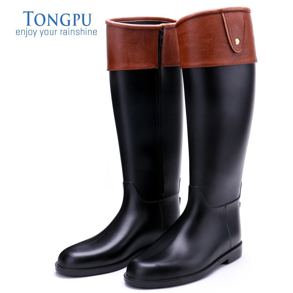 Tongpu 14 Bottes Black De Pluie Imperméables Genou En Caoutchouc 120 Femmes À D'équitation Hauteur Du L5A4R3j