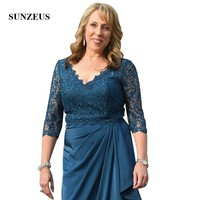 3/4 Sleeves Beaded Lace Brides Mother Dresses For Weddings A line V neck Long Chiffon Women Party Gowns Blue Dinner Dress