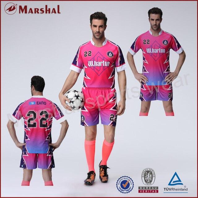 Color rosa jersey de fútbol equipo uniforme de fútbol venta al por mayor de  su club dde1e99a8e43d