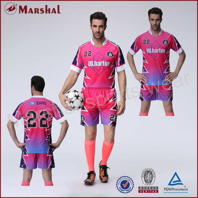 Pink color soccer jersey team soccer uniform wholesale custom your club  soccer kits Top quality personalised free shipping 84bf68add