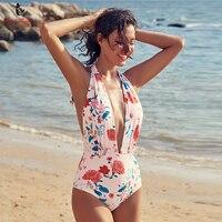 Ariel Sarah Brand Sexy Swimwear Pink Flower One Piece Swimsuit Women Bathing Suit Deep V Neck