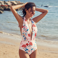 Ariel Sarah Brand Sexy Swimwear Pink Flower One Piece Swimsuit Women Bathing Suit Deep V Neck