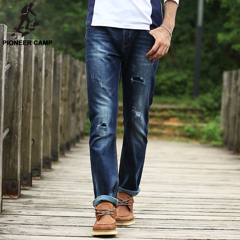 Pioneer Camp 2017 Spring ripped Jeans men brand clothing Hole Elastic Casual Jeans Pants male Straight Men Denim trousers 566023 pioneer camp new summer thin jeans men brand clothing casual straight denim pants male top quality denim trousers anz703095