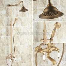 Retro Vintage antiguo latón baño pared montaje lluvia ducha grifo conjunto mezclador grifo grifos Crs045