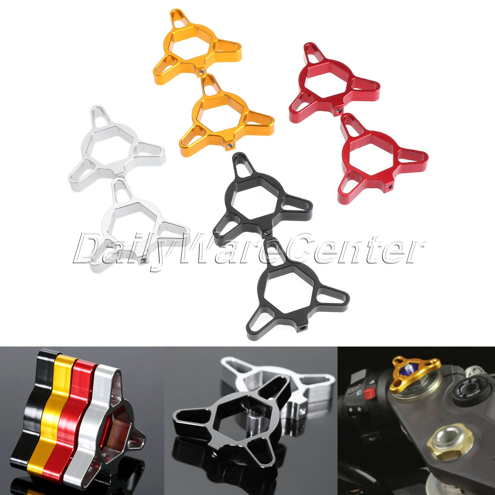 2XUniversal 19mm CNC Aluminum Fork Preload Adjusters for Honda CBR 600RR 1000RR CB1000R Buell 1125R XB12R Blue/Red/Silver/Black