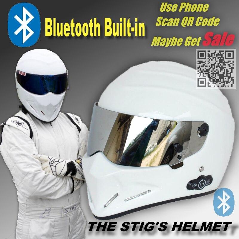 TopGear Le STIG Blanc Casque Construit dans Bluetooth Intégré/Capacete Casco De avec Argent Visière + Téléphone Appel Intercom moto