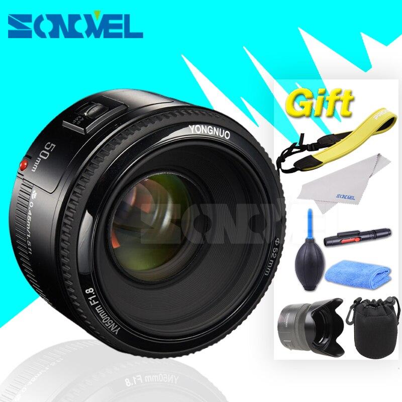 Yongnuo yn50mm f1.8 yn EF 50mm f/1.8 lente AF yn50 Apertura de enfoque automático para Nikon d3400 d7200 d7100 D810 d5500 d5200 Objetivos para cámaras