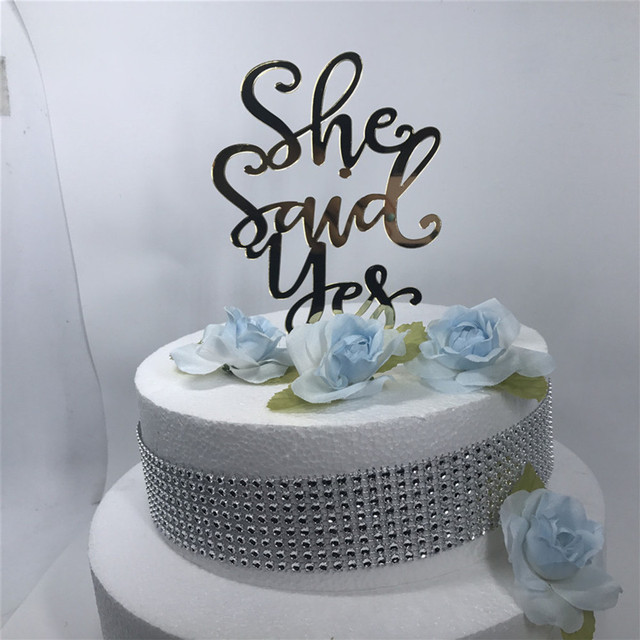 goldsilver glitter script she said yes wedding cake topper bridal party
