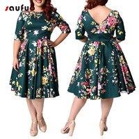 Vintage Print Zippers O Neck Dresses 50s 60s Self Portrait Dress Plus Size For Women 4xl