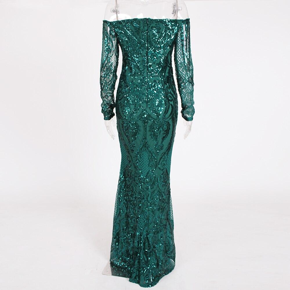 Vert Paillettes robe maxi es Outre De L'épaule Slash Cou robe de fête robe maxi élégante Hiver robe de soirée Paillettes Robe - 4