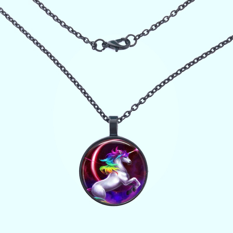 GDRGYB 2019 Unicorn photo Tibet silver Cabochon glass Pendant necklace fashion wedding Pendant necklace in Pendant Necklaces from Jewelry Accessories