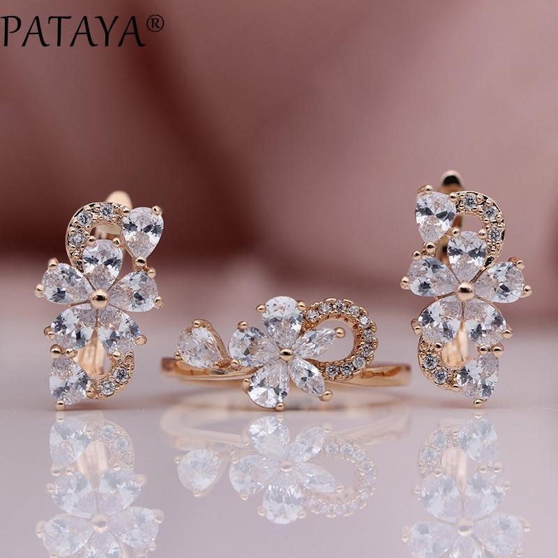 цена на PATAYA New Arrivals 585 Rose Gold Natural Zircon Hollow Drop Earrings Rings Sets Women Fashion Wedding Luxury Cute Jewelry Set