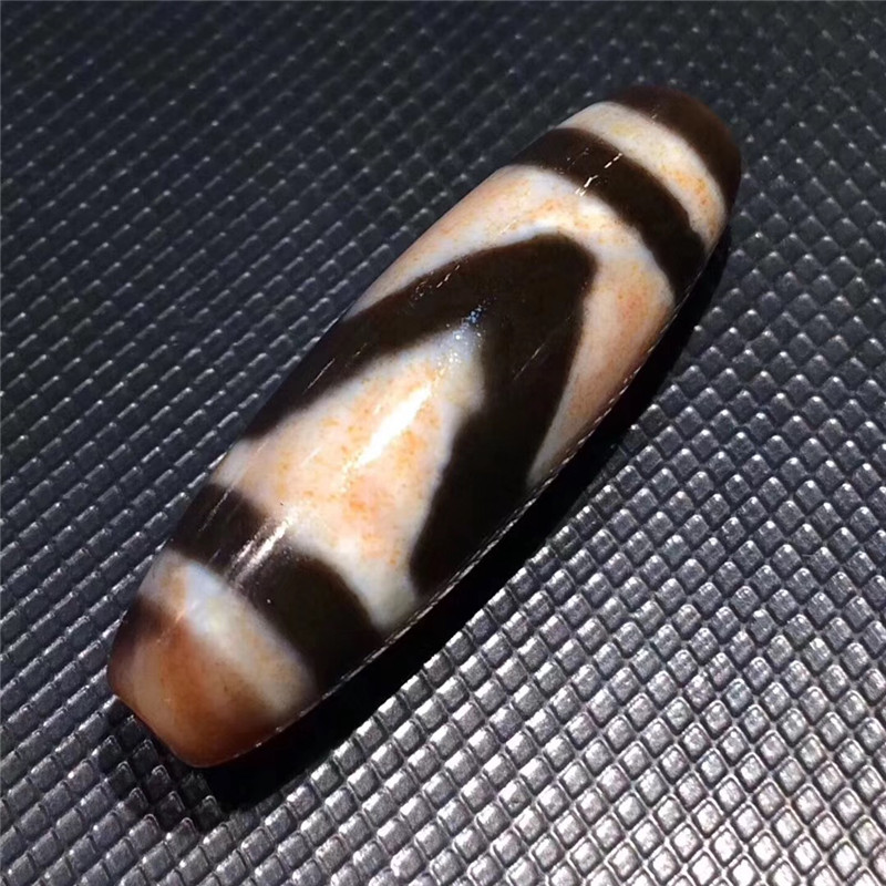 181006-2 Magic Tibetan Dzi Bead Cinnabar Agate Tiger tooth Totem dZi Bead Amulet AAA Men& Women Pendant Bracelet Bead Collect black agate bead bracelet 17cm