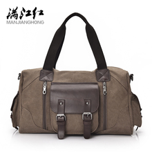 MANJIANGHONG High Quality Hot Men's Canvas Bag Casual Wild Large-Capacity Handbag Simple Fashion Shoulder Messenger Bag