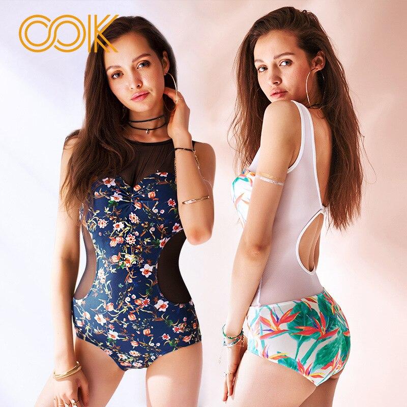 Flower Navy Floral Print One Piece Swimsuit Plus Size Swimwear Women Sets Sexy Thin Lace Up Bodysuit Monokini Bathing Suits