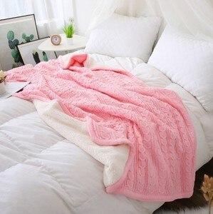 Image 5 - Cammitever 100% 코튼 고품질 양 벨벳 담요 겨울 따뜻한 니트 담요 소파/침대 커버 퀼트 니트