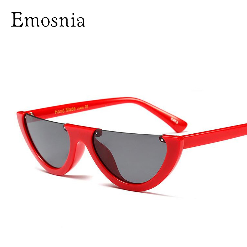 Emosnia Unique Cateye Small Sunglasses Women 2018 Fashion Semi-Rimless Flat Top Vintage Brand Sunglass Female Rivet Glasses