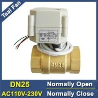 AC110V 230V Power Off Return DN25 Normal Open Valve 2 Way BSP NPT 1 Brass Motorized