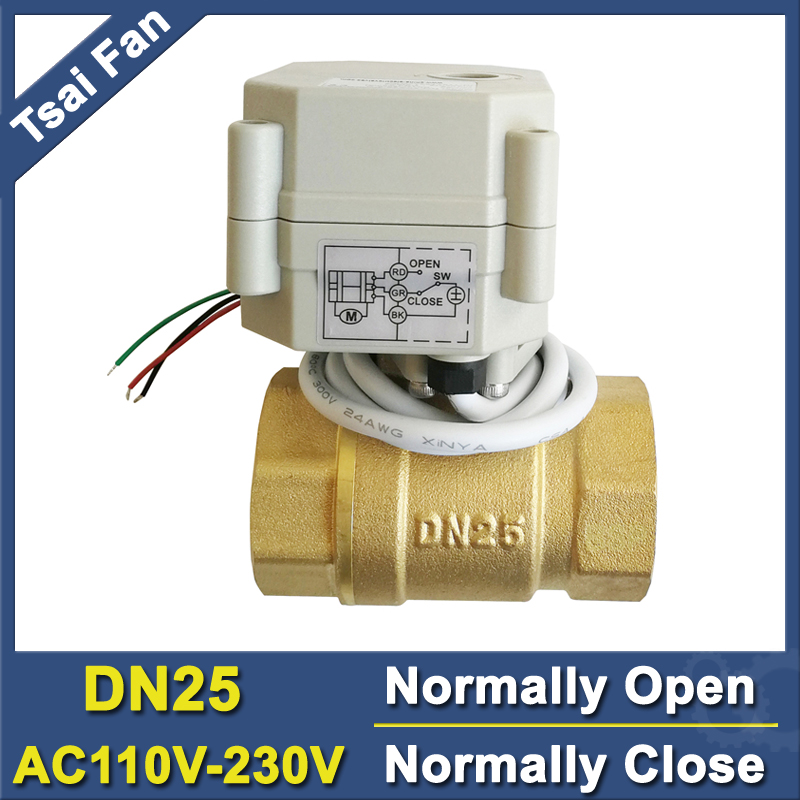 Power Off Return Brass DN25 Normally Open/Close Valve AC110V-230V 2 Way BSP/NPT 1'' Motorized Valve For Water Control CE/IP67