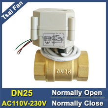 AC110V-230V Power Off Return DN25 Normal Open Valve 2 Way BSP/NPT 1'' Brass Motorized Valve For Water Control Systems CE/IP67 2 way pvc dn32 4 7wires motorized ball valve bsp npt 11 4 ac110 230v 10nm electric ball valve on off 15 sec metal gear ce