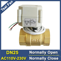 Power Off Return Brass DN25 Normally Open/Close Valve AC110V 230V 2 Way BSP/NPT 1'' Motorized Valve For Water Control CE/IP67