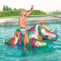 Adult Giant Inflatable Ride on Rhino Pool Floats Full Printing Animal Ridable Pool Floaties Summer Water Toys Air Raft Bed